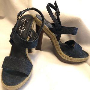 Jessica Simpson Denim Open Toe Heels Size 9